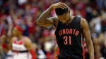 Toronto Raptors forward Terrence Ross (31) reacts during the second half of Game 3 in the first round of the NBA basketball playoffs against the Washington Wizards, Friday, April 24, 2015, in Washington. The Wizards won 106-99. (AP Photo/Alex Brandon)