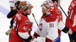 Montreal Canadiens goalie Carey Price (31) and Ottawa Senators goalie Craig Anderson (41) shake hands following NHL playoff action in Ottawa, Sunday, April 26, 2015. (Adrian Wyld / THE CANADIAN PRESS)