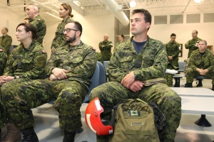 Cpl. Eric Ranger from CFB Trenton sits in the lounge before leaving CFB Trenton, Ont., Sunday Apr. 26, 2015. (Lars Hagberg / THE CANADIAN PRSS)
