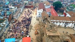 Drone-view of quake damage in Kathmandu