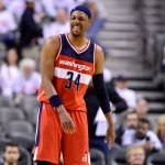 Washington Wizards' Paul Pierce smiles after defeating the Toronto Raptors in NBA playoff action in Toronto on Tuesday, April 21, 2015. (Frank Gunn / THE CANADIAN PRESS)