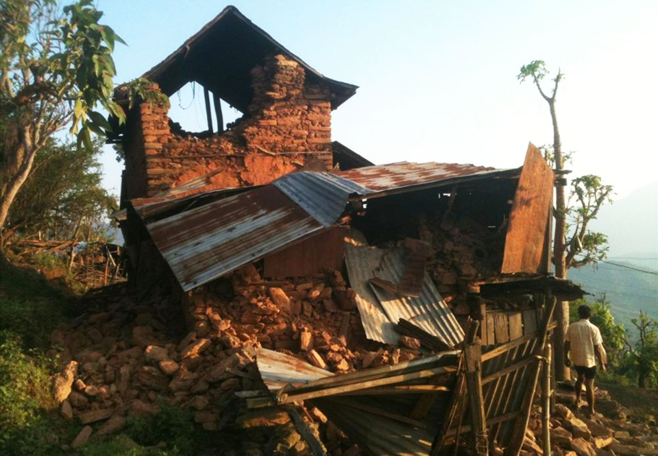 A house stands destroyed by Saturday's earthquake at Paslang village in Gorkha municipality, Nepal, Monday, April 27, 2015. (Bishwo Ghimire / World Vision via AP)
