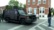 Protester tries to block SWAT vehicle