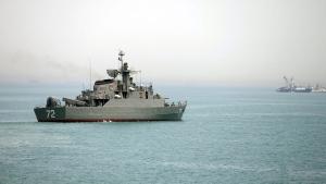 In this Tuesday, April 7, 2015, photo, Iranian warship Alborz prepares before leaving Iran's waters, at the Strait of Hormuz. (Fars News Agency / Mahdi Marizad)