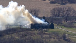 Aerial view of fire near Barrier, Ont.