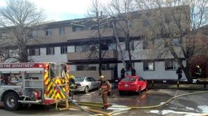 Crews battle the blaze in Winnipeg on April 28, 2015 on Quail Ridge Road.