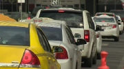 Hundreds of Edmonton cab drivers drove in a line from the south side to City Hall Tuesday, April 28, to protest Uber.