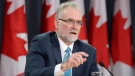 Auditor General Michael Ferguson speaks at a news conference in Ottawa on Tuesday, April 28, 2015. (Adrian Wyld / THE CANADIAN PRESS)