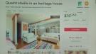 An Airbnb listing is shown from Montreal, Que. at $75 per night.