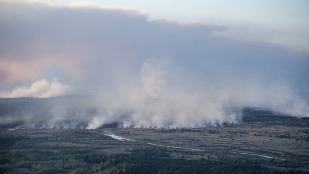 Forest fire in the Chornobyl area, Ukraine