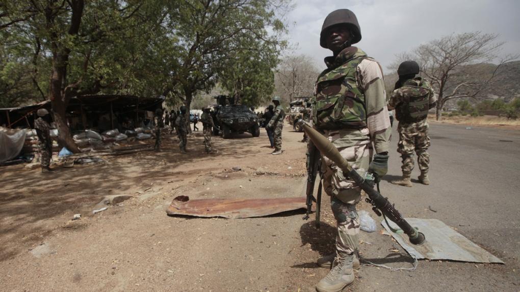 Nigerian soldiers in Gwoza