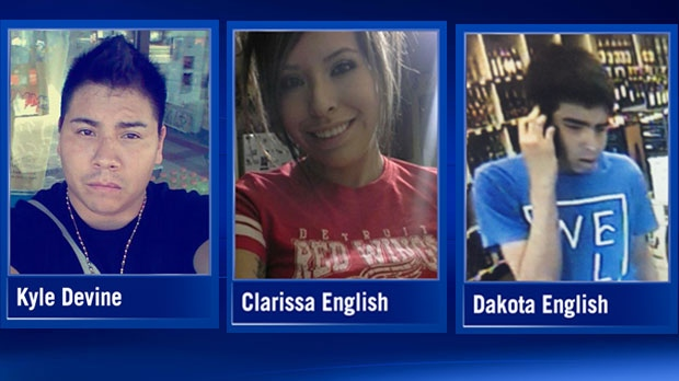 The victims have been identified as 27-year-old Kyle Osborn Devine, 24-year-old Clarissa Michelle English and her brother, 18-year-old Dakota Julius Ray English. (Facebook)