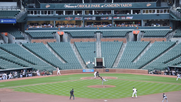 The Baltimore Orioles bat against the Chicago White Sox during a baseball game without fans in Baltimore, Wednesday, April 29, 2015. (AP / Gail Burton)