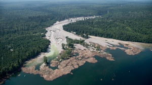 Contents from a tailings pond is pictured going down the Hazeltine Creek into Quesnel Lake near the town of Likely, B.C. on August, 5, 2014. (Jonathan Hayward / The Canadian Press)