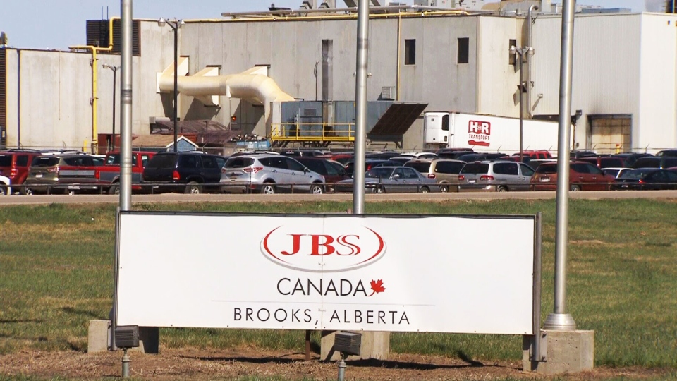 JBS Canada beef processing plant is shown in Brooks, Alberta.