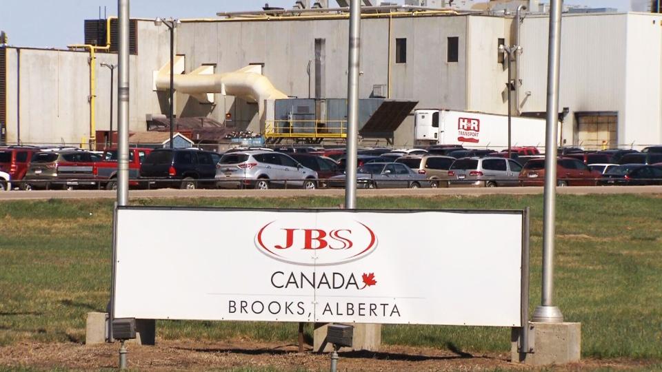 JBS Canada beef processing plant is shown in Brooks, Alberta.