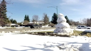 A snowman melts in Saskatoon in this file photo.