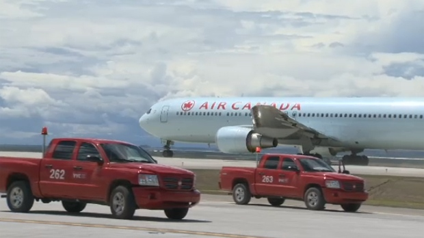 Air Canada aircraft on the tarmac of the Calgary International Airport