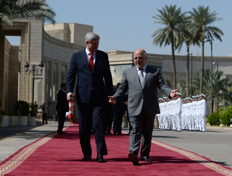 Prime Minister Stephen Harper meets with Haydar al-Abadi, Prime Minister of Iraq, at the Presidential Palace in in Baghdad, Iraq on Saturday, May 2, 2015. (Sean Kilpatrick / THE CANADIAN PRESS)