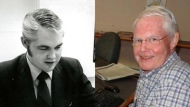 Montreal broadcaster Tom Armour is seen in early days and in a more recent photo. (CJAD and Esteban Vargas)