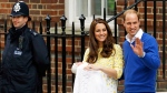 Prince William and Kate, Duchess of Cambridge and their newborn baby princess, pose for the media as they leave St. Mary's Hospital's exclusive Lindo Wing, London, Saturday, May 2, 2015. (AP / Kirsty Wigglesworth)