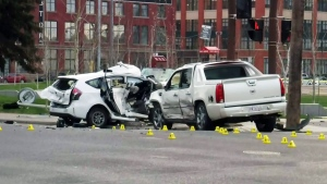 A collision caused by impaired driving is shown in Calgary in this file photo.