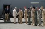 Prime Minister Stephen Harper arrives at Camp Patrice Vincent in Kuwait on Sunday, May 3, 2015. (Sean Kilpatrick / THE CANADIAN PRESS)