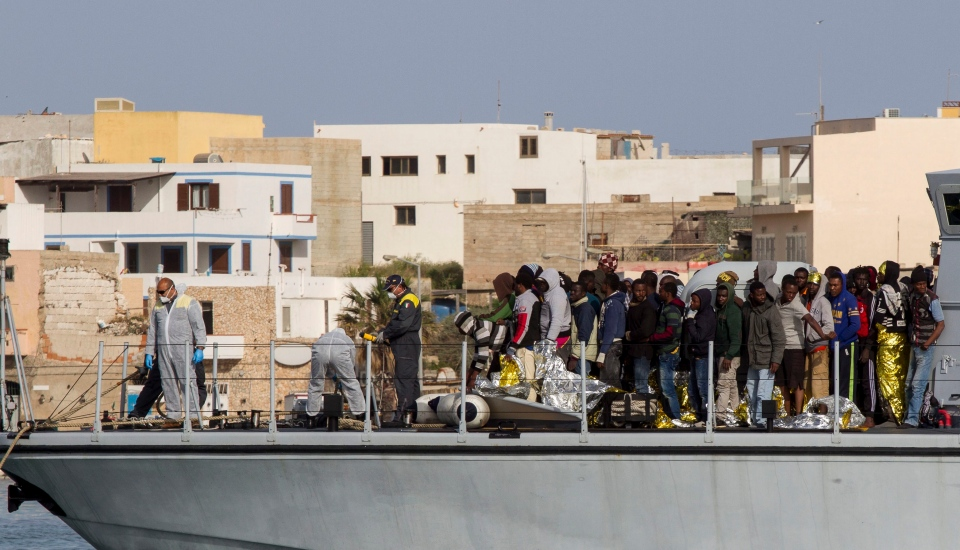 Rescued migrants arrives in the harbor of Lampedusa, Southern Italy on Saturday, May 2, 2015. (AP / Mauro Buccarello)