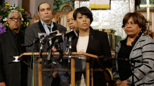 Baltimore Mayor Stephanie Rawlings-Blake speaks in front of faith and community leaders at a news conference calling for peace in response to a Freddie Gray protest that turned violent, Sunday, April 26, 2015, at the Bethel AME Church in Baltimore. (AP / Patrick Semansky)
