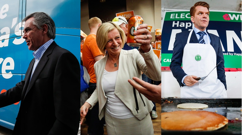 Progressive Conservative leader Jim Prentice, NDP leader Rachel Notley and Wildrose leader Brian Jean are shown during the final weekend of campaigning in this composite photo. (THE CANADIAN PRESS)