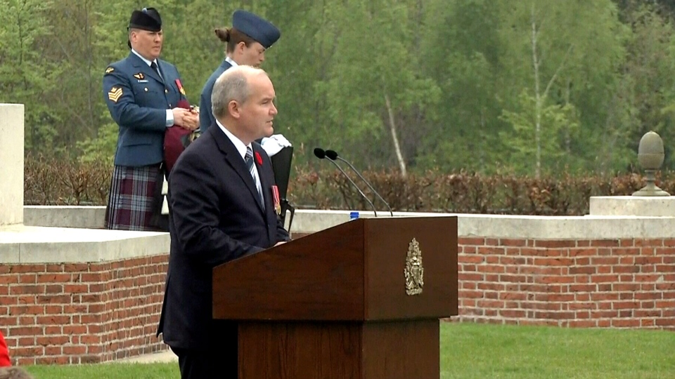 Veterans Affairs Minister Erin O'Toole  speaks at a ceremony at the Groesbeek Canadian War Cemetery marking 70th anniversary of the Liberation of the Netherlands on May 3, 2015.