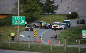 Police say a man in his 50s lost control of his motorcycle while exiting Highway 1 and hit a cement post. (CTV)