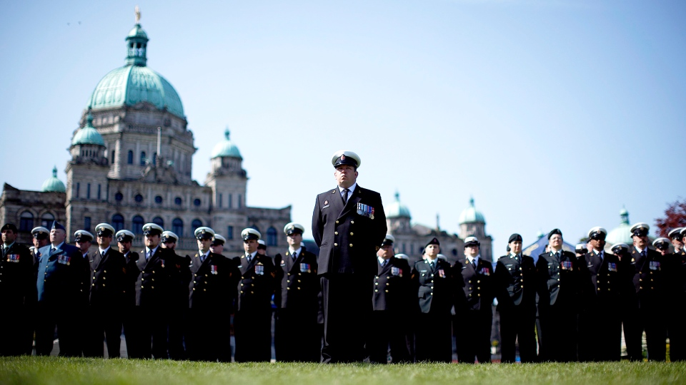 Hundreds of Canadian Armed Forces, Royal Canadian Navy personnel, veterans and cadets commemorate those lost as sea in the Second World War campaign known as the Battle of the Atlantic, as they make their way to the Cenotaph at B.C. Legislature in Victoria Sunday, May 3, 2015. (Chad Hipolito / THE CANADIAN PRESS)