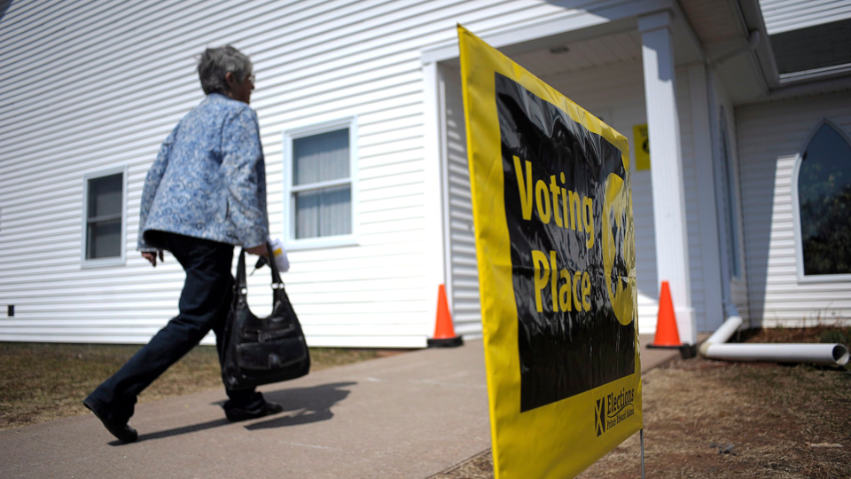 A voter heads into a polling station in Charlottetown, P.E.I. on Monday, May 4, 2015. (THE CANADIAN PRESS/ Nathan Rochford)