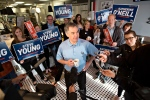 Alberta Conservative leader Jim Prentice speaks with media after meeting with supporters on a visit to the Italian Centre during a campaign stop in Edmonton, Alta., on Monday May 4, 2015. (Jason Franson/THE CANADIAN PRESS)