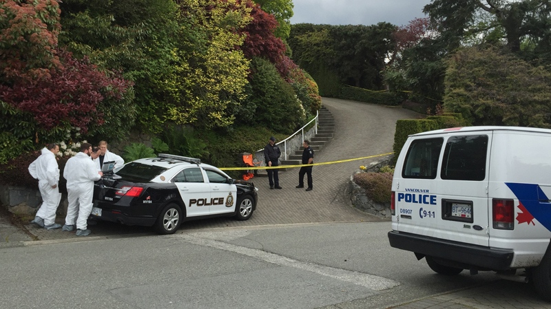 Forensics teams are probing a suspicious death at a home in West Vancouver's prestigious British Properties. May 4, 2015. (CTV)