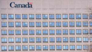 The facade of the headquarters of the Department of National Defence is pictured in Ottawa, Wednesday April 3, 2013. THE CANADIAN PRESS/Adrian Wyld