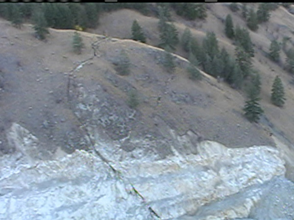An aerial view of the unstable rock face workers discovered on Highway 97 near Summerland, B.C. on Friday, October 24, 2008.