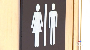 Traditional male and female washroom symbols are shown.