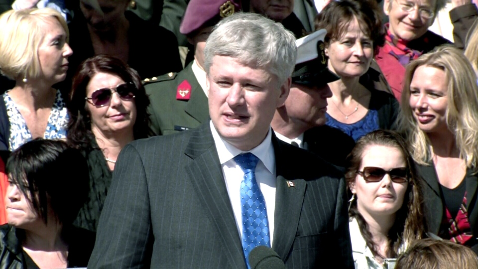 Prime Minister Stephen Harper speaks at a Liberation Day ceremony in Wageningen, Netherlands, Tuesday, May 5, 2015.