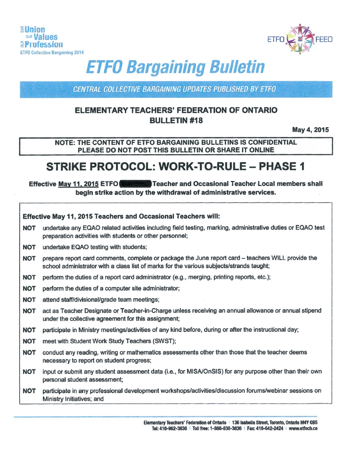 This is page one of a document obtained by CTV News detailing strike action that will start May 11.