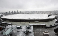 The collapsed BC Place Stadium roof is shown after a tear in the inflated roof caused it to loose air pressure, in Vancouver, B.C. on Friday January 5, 2007. (CP PHOTO/Chuck Stoody)