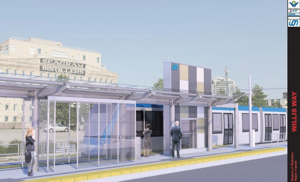 The proposed design for the rapid transit stop along Willis Way in Waterloo is pictured in this rendering. (Region of Waterloo)
