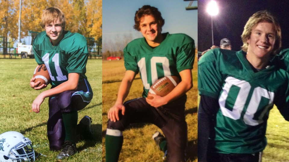 Fourteen-year-old Justin Gaja, left, 15-year-old Kristian Skalicky, middle, and 17-year-old Carter Stevenson were killed May 3 in a crash on Highway 6. (Photos: Facebook)