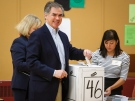 Alberta PC Party leader Jim Prentice casts his vote Calgary, Alta. on May 5, 2015. (Jeff McIntosh / The Canadian Press)