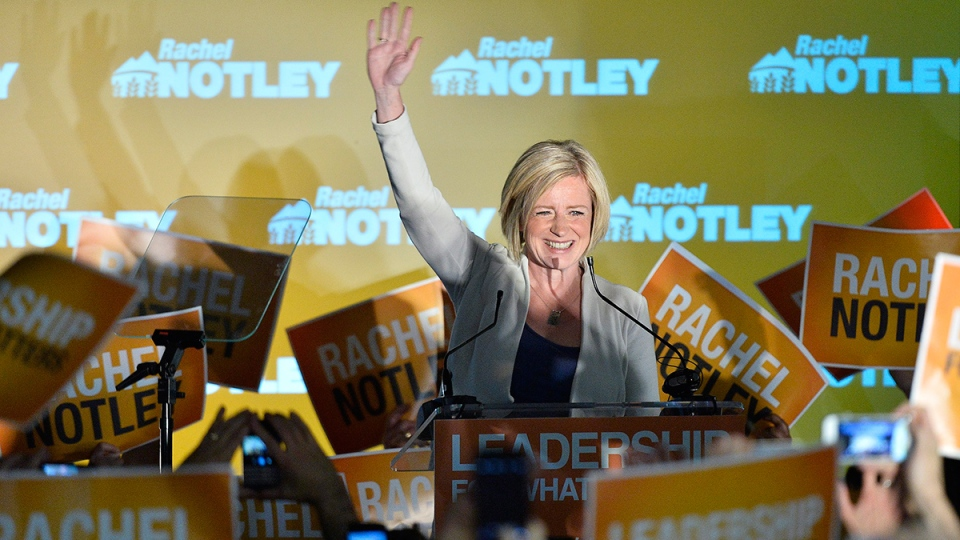 Alberta NDP leader Rachel Notley speaks on stage after being elected Alberta's new premier in Edmonton on Tuesday, May 5, 2015. (Nathan Denette / THE CANADIAN PRESS)