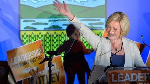 Alberta NDP leader Rachel Notley speaks on stage after being elected Alberta's new Premier in Edmonton on Tuesday, May 5, 2015. The NDP has won a majority in Alberta by toppling the Progressive Conservative colossus that has dominated the province for more than four decades. (Nathan Denette / THE CANADIAN PRESS)