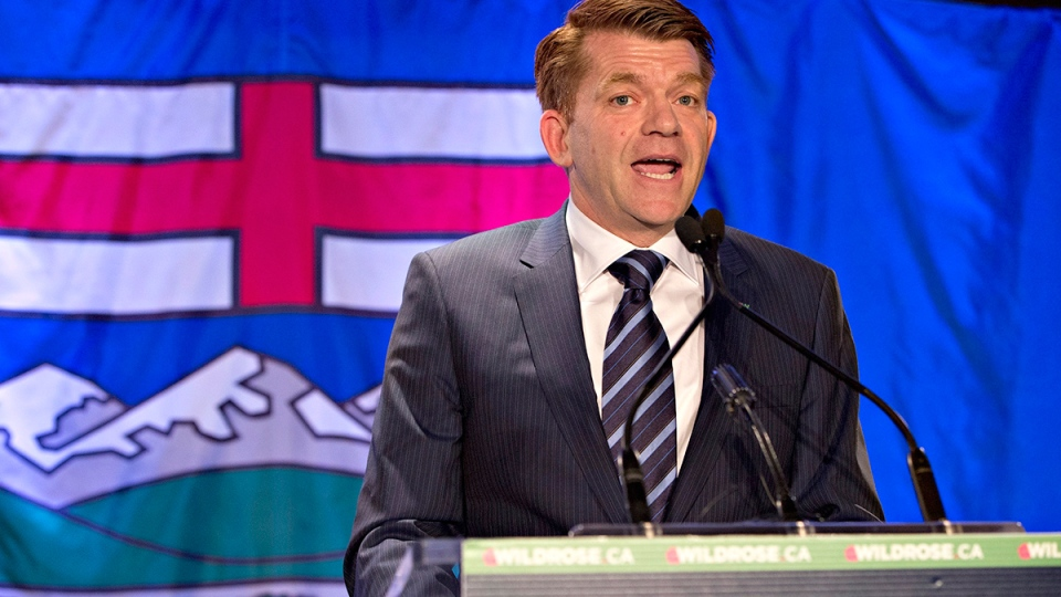 Alberta Wildrose leader Brian Jean speaks to the crowd after being declared the official opposition in Fort McMurray Alta, on Tuesday, May 5, 2015. (Jason Franson / THE CANADIAN PRESS)