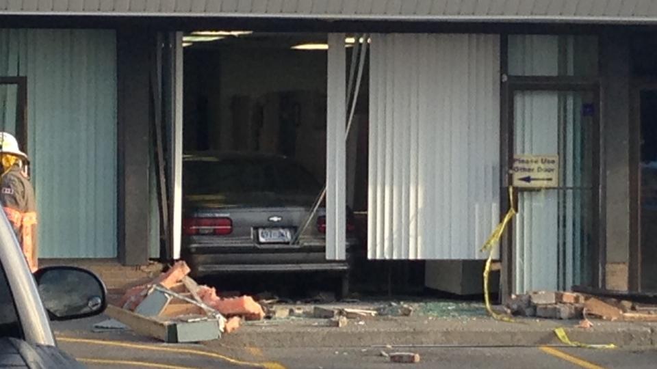 Three hurt after car crashes into LifeLabs building | CTV