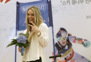U.S. Olympic skier Lindsey Vonn poses during a meeting with fans in Seoul, South Korea, Wednesday, May 6, 2015. (AP / Ahn Young-joon)